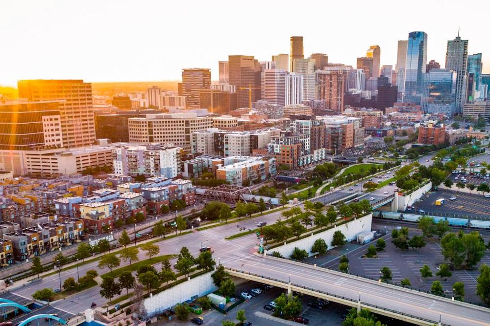 an aerial photo of downtown denver